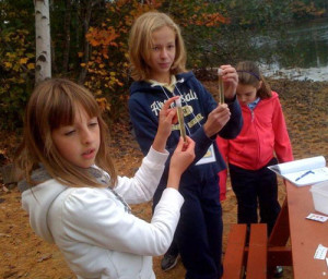 Students attend the TREE Center Environmental Education program and take samples of the Bauneg Beg water